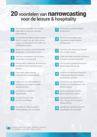 20 voordelen van narrowcasting voor de leisure-hospitality-leaflet