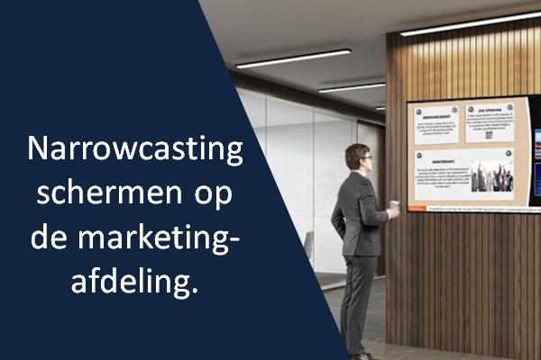 Narrowcasting schermen op de marketingafdeling